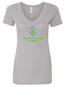 VersatiliTree Farm Ladies V Neck - Gray