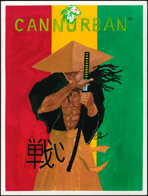 "Cliff Thompson Print:  Rasta Hip-Hop Samurai aka ""Resist"""