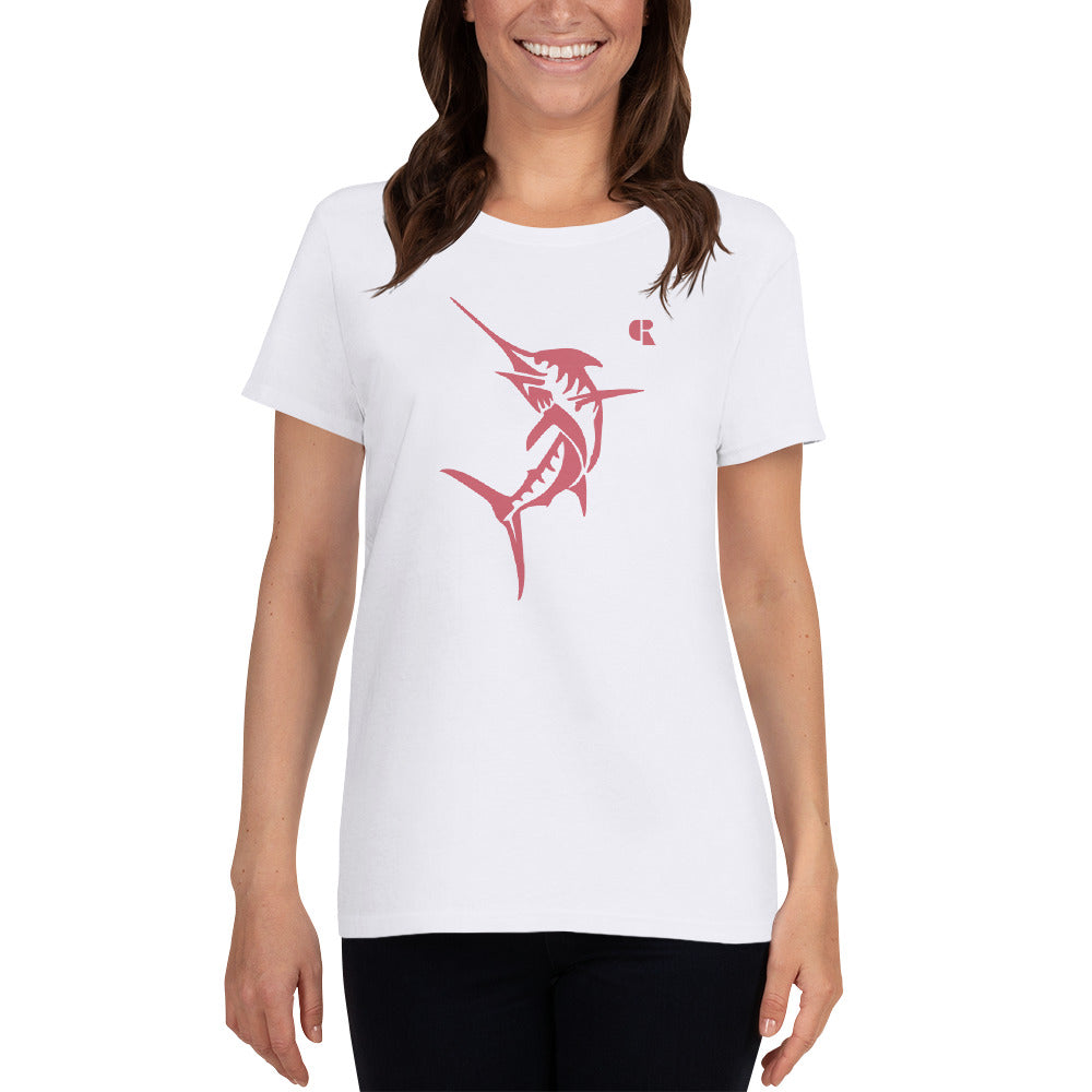 Women's Light Cotton Graphic Tee | Marlin | Pink - Devious Republic | DVSREP