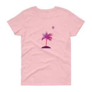 Women's Light Cotton Graphic Tee | Palm Tree | Pink - Devious Republic | DVSREP