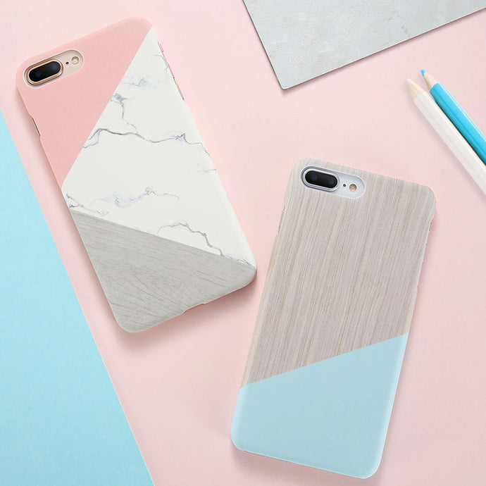 Marble and Wood Fusion Textured iPhone Cases for iPhone 6, 7, 8, X and Plus Models - Devious Republic