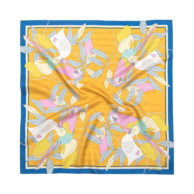 Square Silk Twill Scarf with Parrots and Love Letter in Tuscan Sun Yellow 110