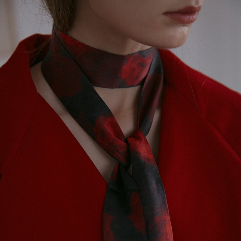Silk Satin Skinny Scarf with Red and Black Rose Print 180