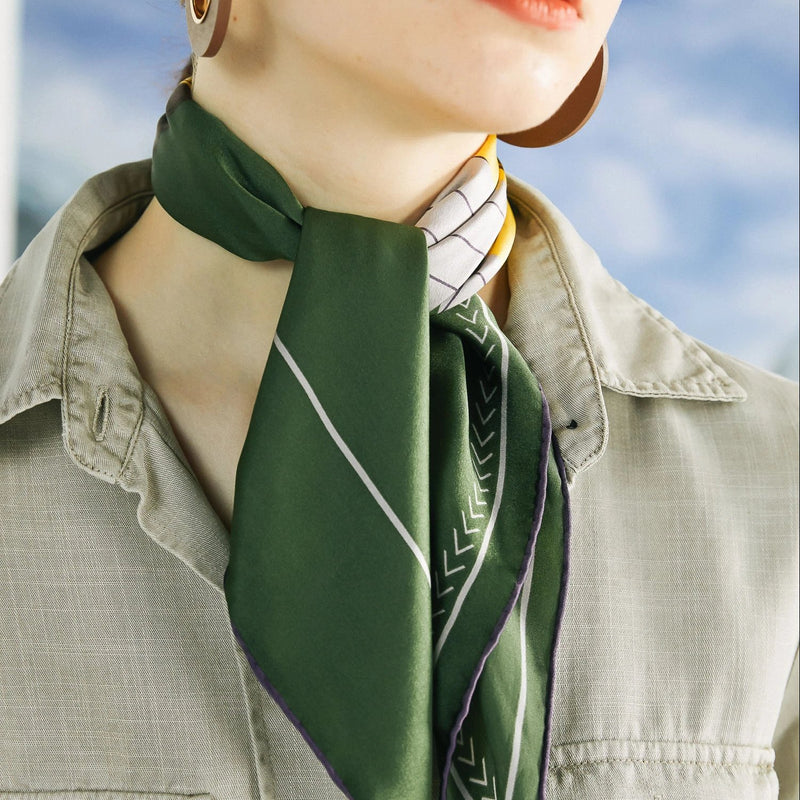 Silk Satin Square Scarf with Rotorua Illustration in Moss Green 50