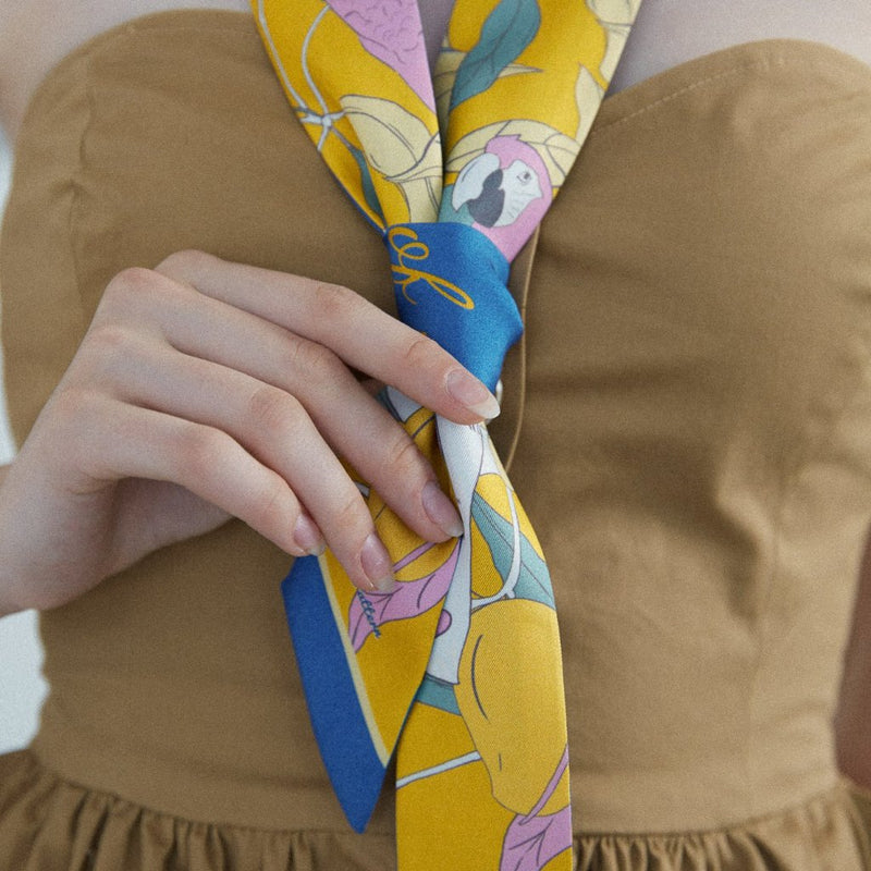Skinny Silk Scarf with Parrots and Love Letter in Tuscan Sun Yellow 120