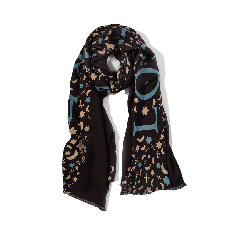 Silk Twill Square Scarf with Khazars Symbols Prints in Midnight Blue