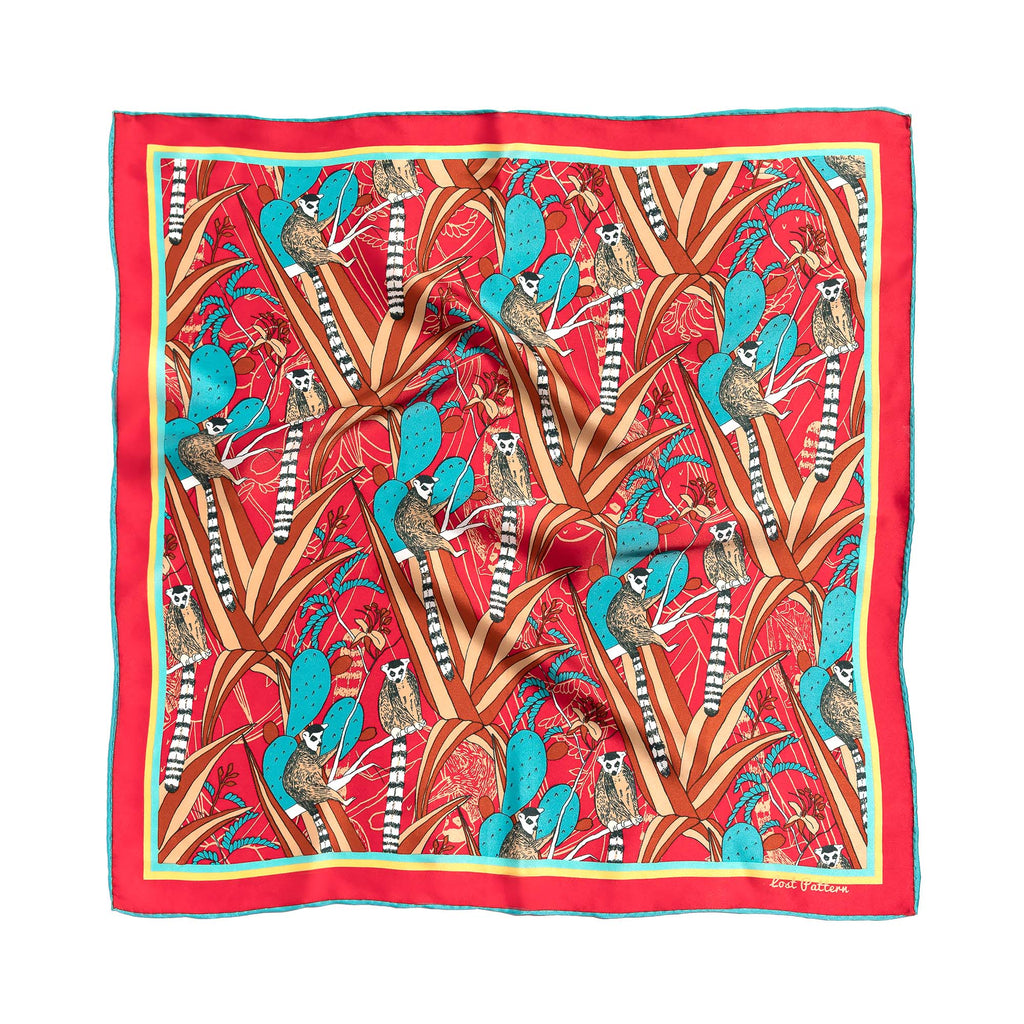 Silk Satin Square Scarf with Lemur and Cactus Print in Red 50