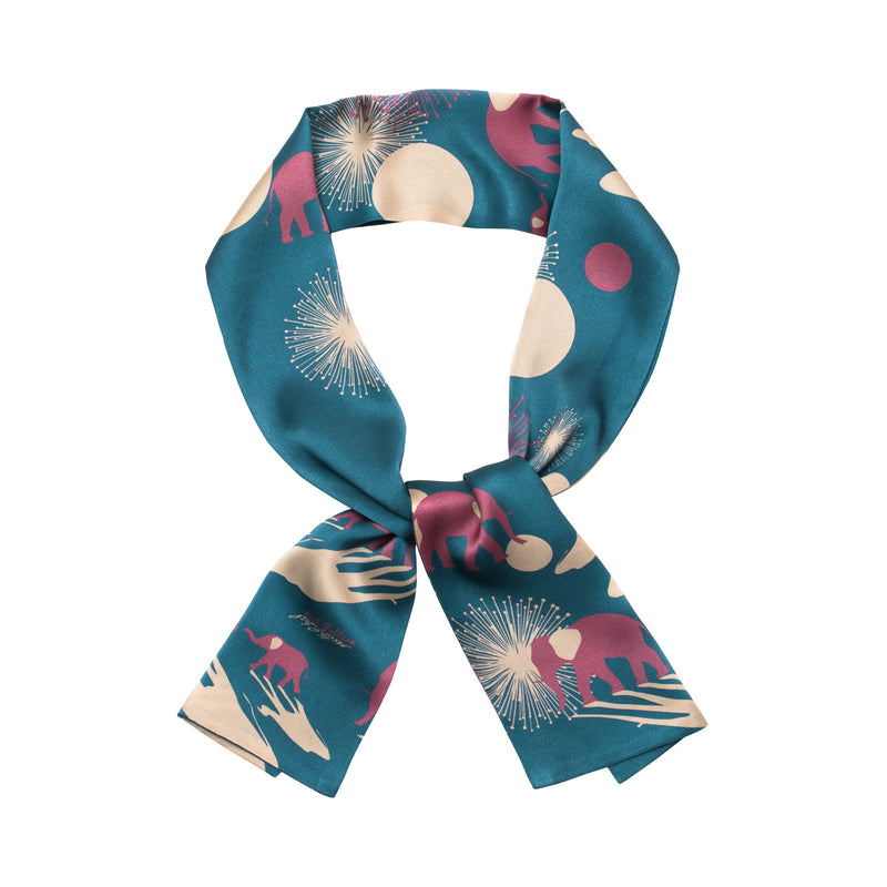 Silk Satin Twilly Scarf with Acacia and Elephant Print 120