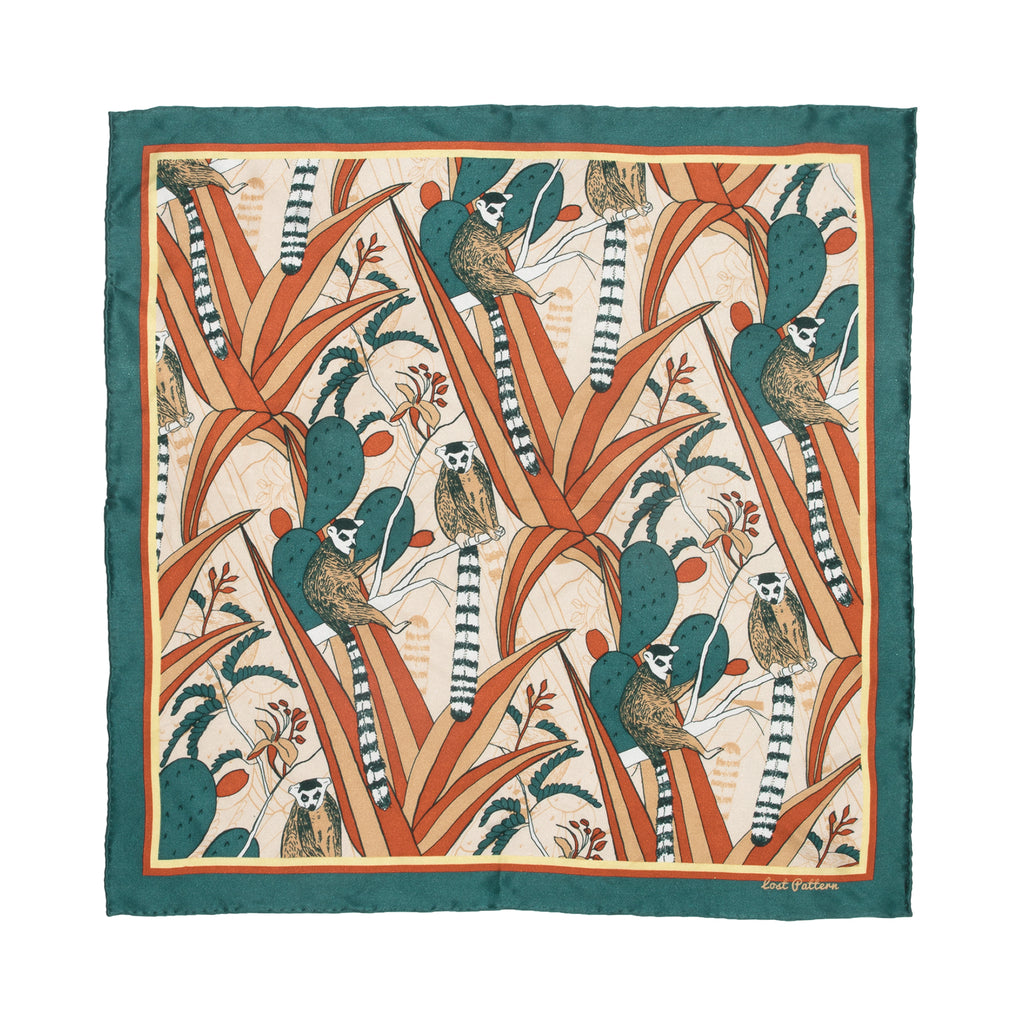 Silk Satin Square Scarf with Lemur and Cactus in Emerald Green 50