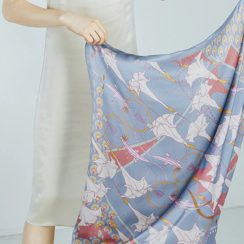 Silk Satin Square Scarf with Mandala in Periwinkle Blue 90