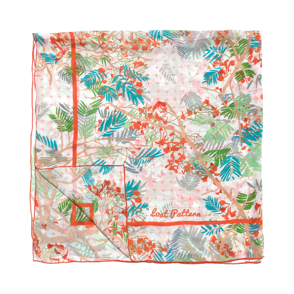 Silk Georgette Scarf / Shawl with Poinciana in Creamy White
