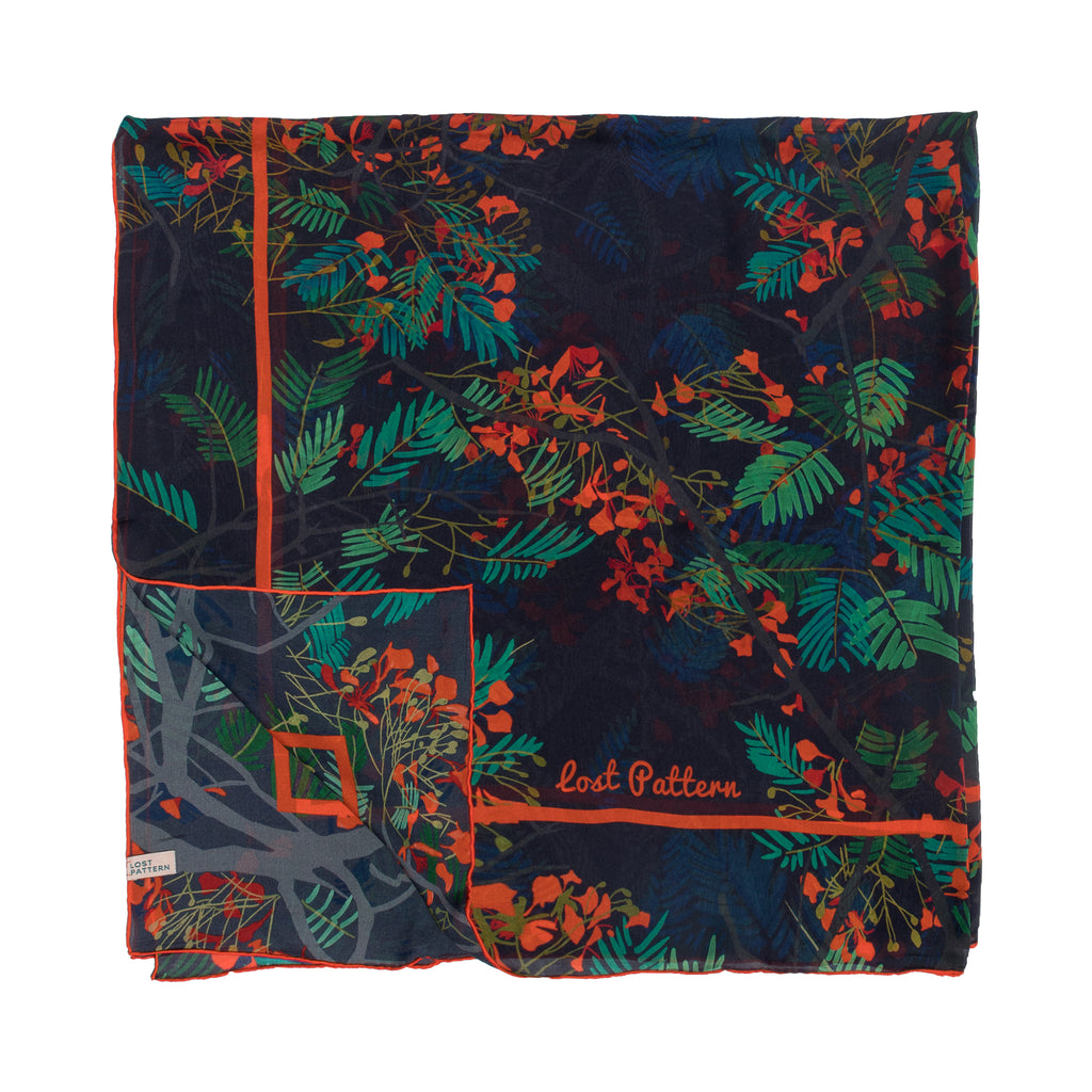 Silk Georgette Scarf / Shawl with Poinciana in Navy