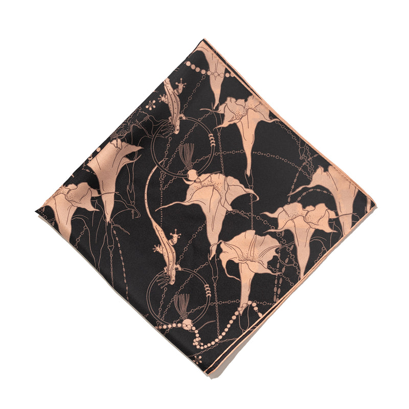Silk Satin Square Scarf with Mandala in Dark Brown 60