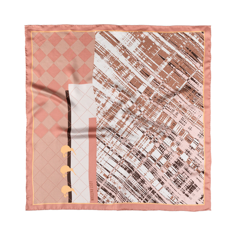 Silk Twill Square Scarf with Geothermal Wonders Print in Rose and Blue 60
