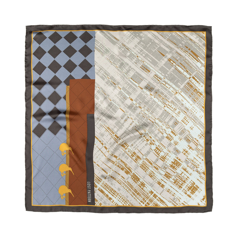 Silk Twill Square Scarf with Khazars Symbols Prints in Champagne