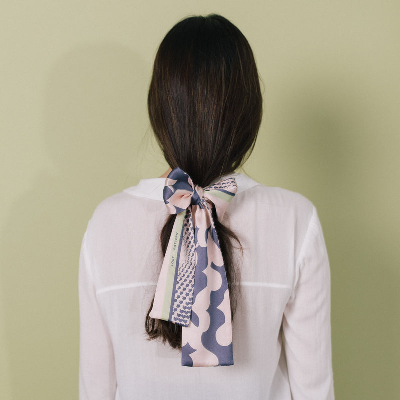 Silk Satin Skinny Scarf with I Carry Your Heart with Me Illustration in Pink and Dark Slate Blue 100