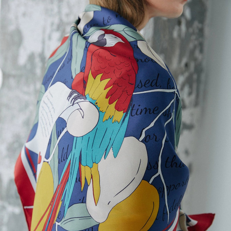 Square Silk Twill Scarf with Parrots and Love Letter in Navy Blue and Red 110