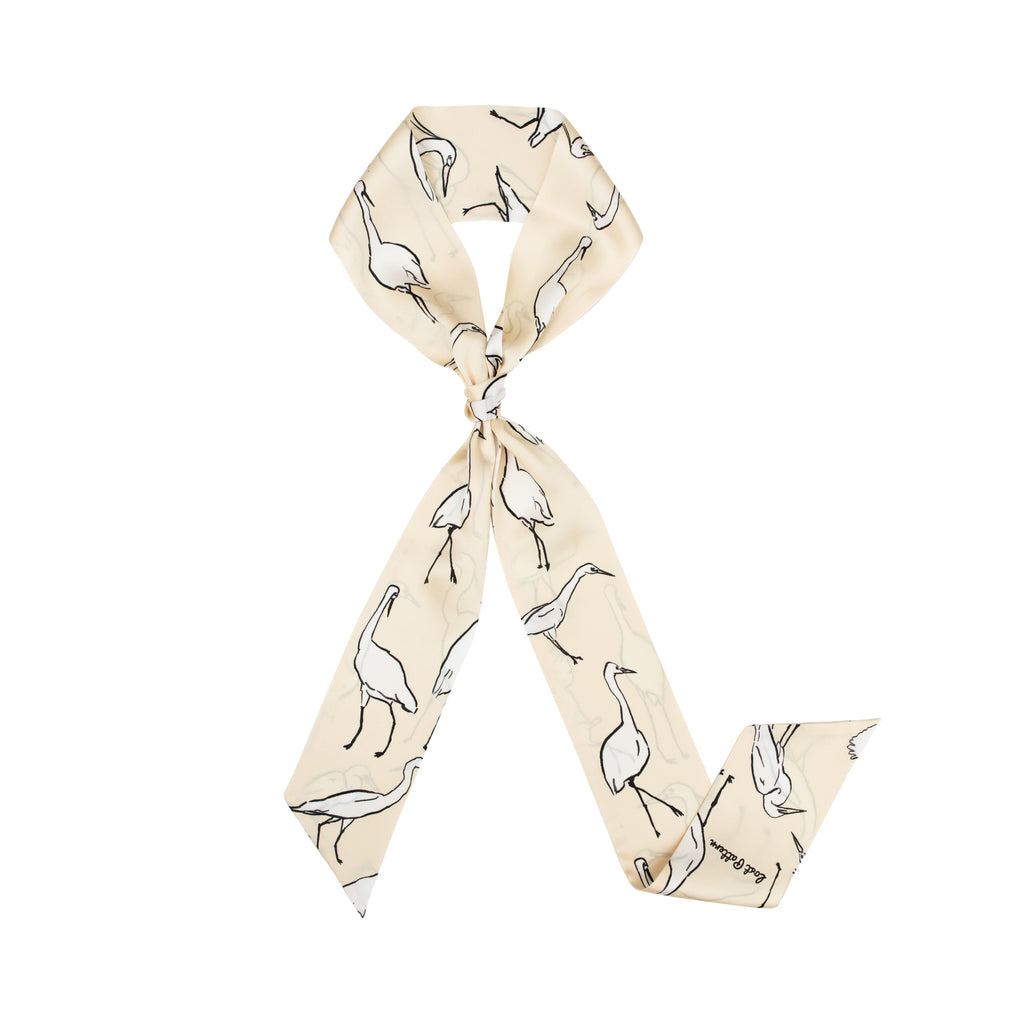 Silk Satin Skinny Scarf with Egret Print in Creamy White 160