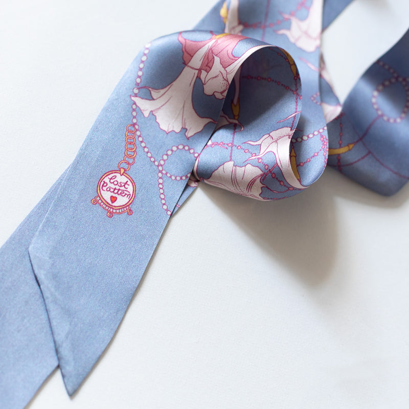 Silk Satin Skinny Scarf with Mandala in Periwinkle Blue 140