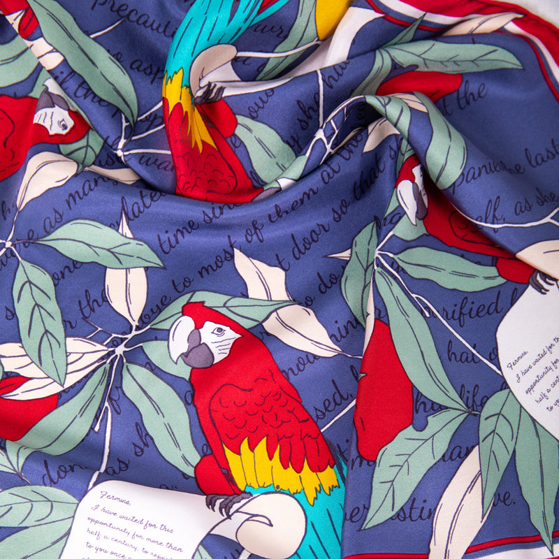 Square Silk Scarf with Parrots and Love Letter in Navy Blue and Red 60