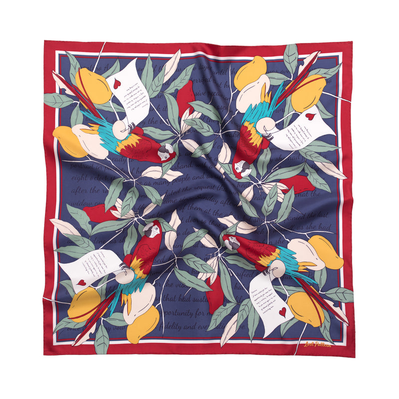 Square Silk Scarf with Parrots and Love Letter in Tuscan Sun Yellow 60