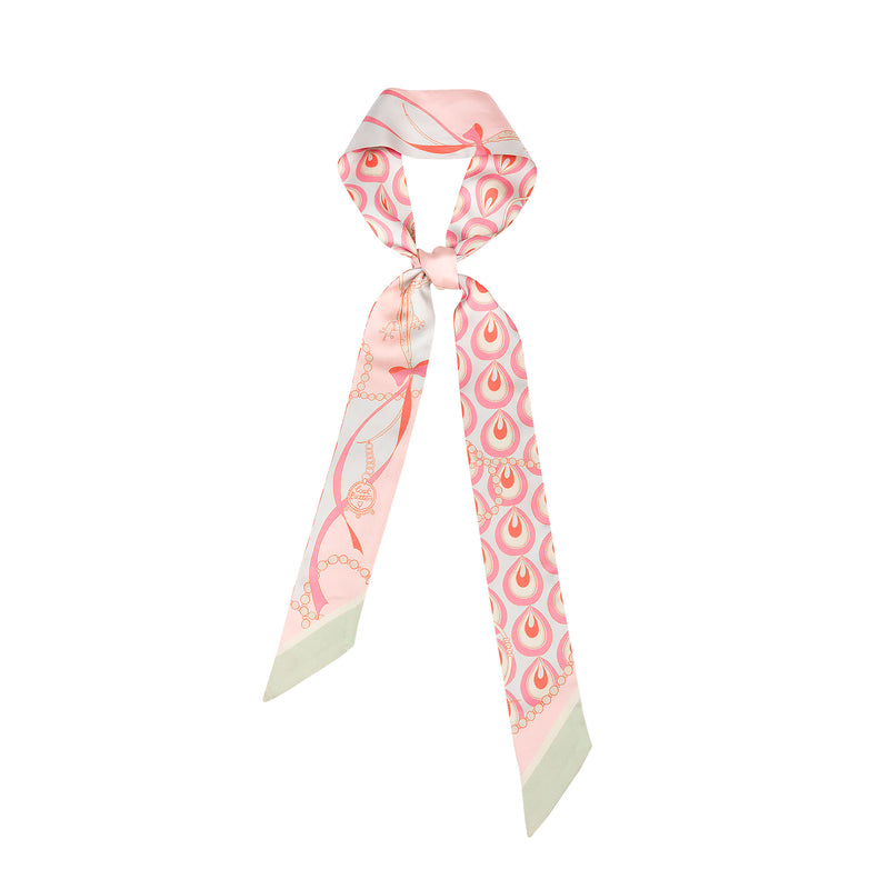 Silk Twill Skinny Scarf with Crown Lizard in Pastel Rose Pink 120