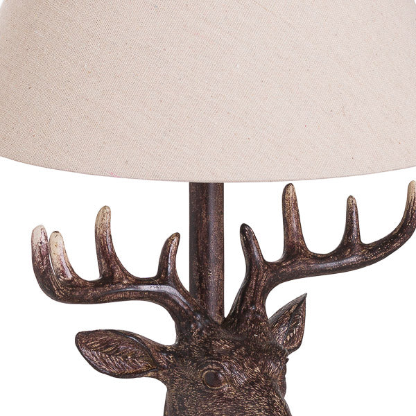 Stag Head Lamp with Linen Shade