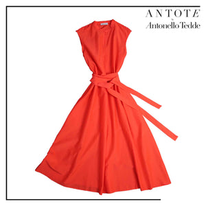 RED DRESS ANTOTE_HAND-WOVEN DETAILS