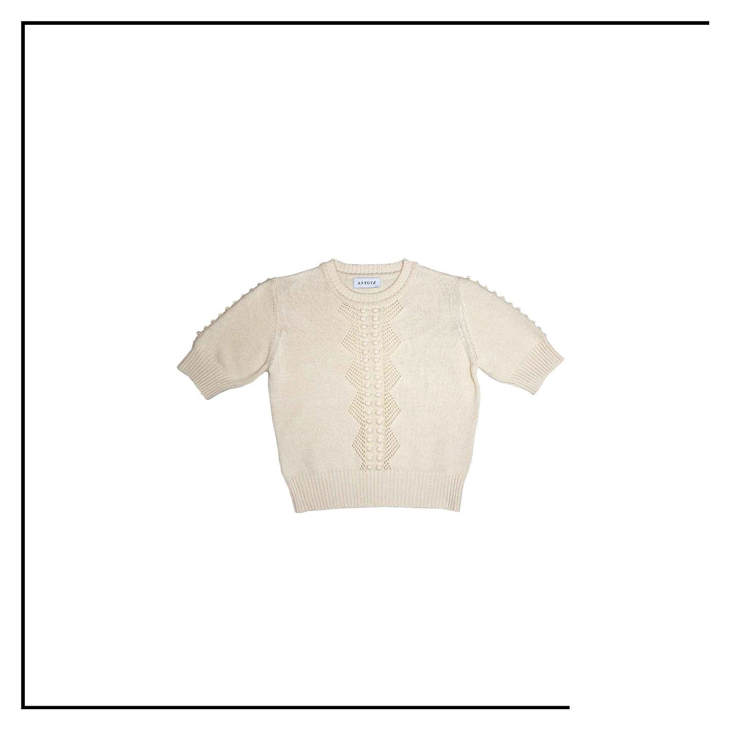 ANTOTE_RU Knitted short sleeve top Cream