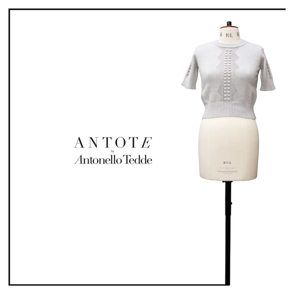 ANTOTE_RU Knitted short sleeve top GREY