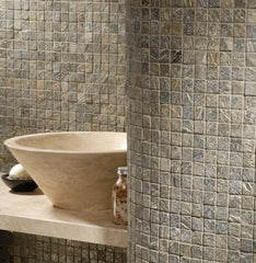Ash Tumbled Travertine Mosaic