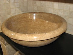 Noce Travertine Sink; Honed & filled