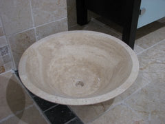 Light-Medium Travertine Sink; Honed & Filled