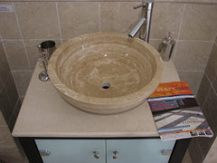 Medium Travertine Sink; Honed & Filled