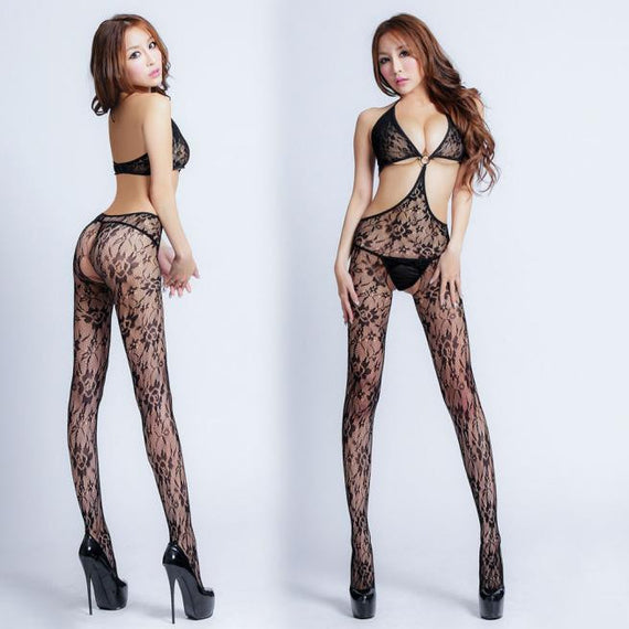 Lingerie Open Hollow Printing Tight Pajama Stocking - PrettyTwenties