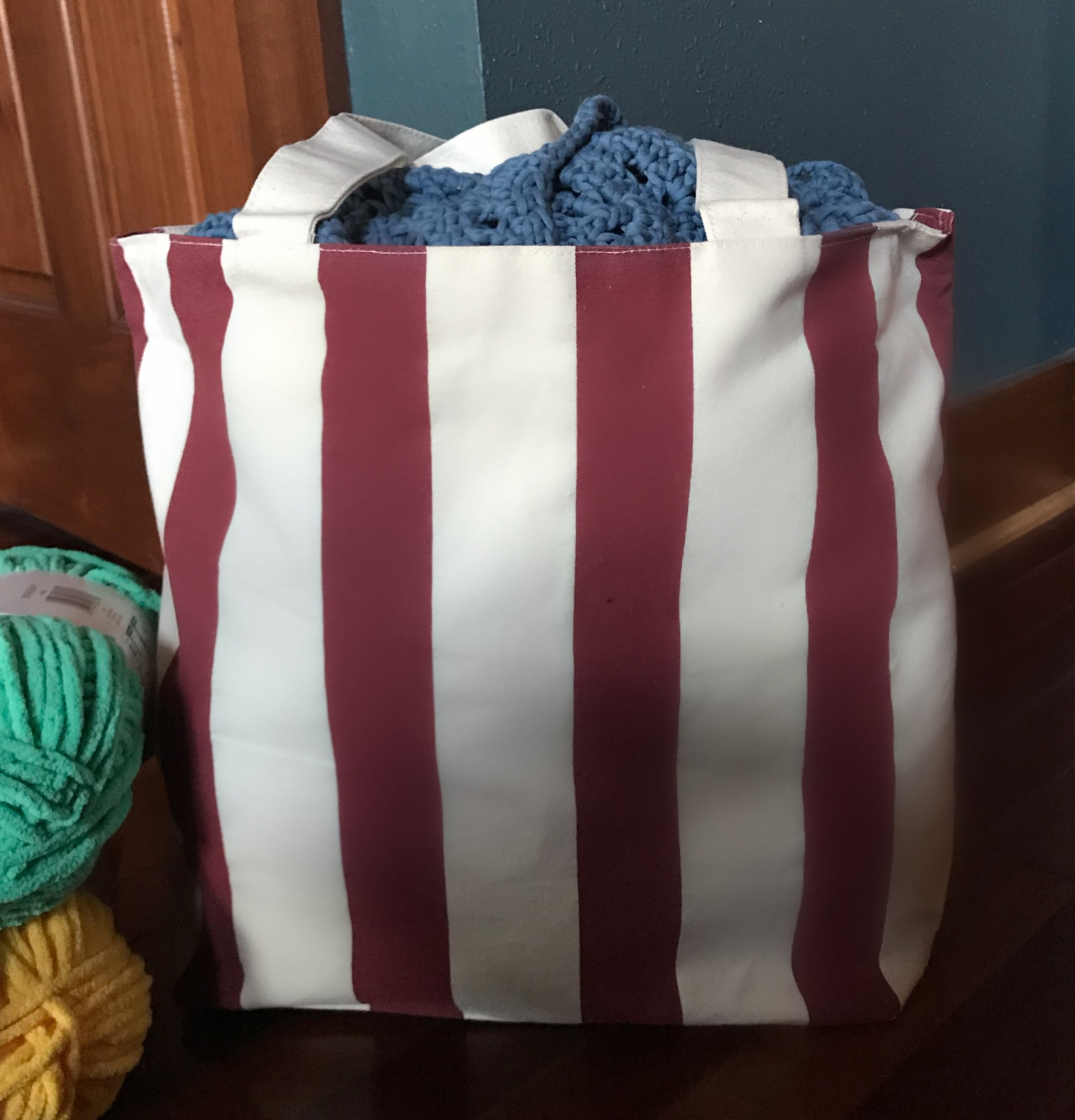 """Hello Crochet Friends"" Zippered Canvas Chandler Tote (2 color options)."