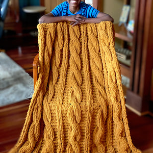 Handmade Cozy Cable Blanket