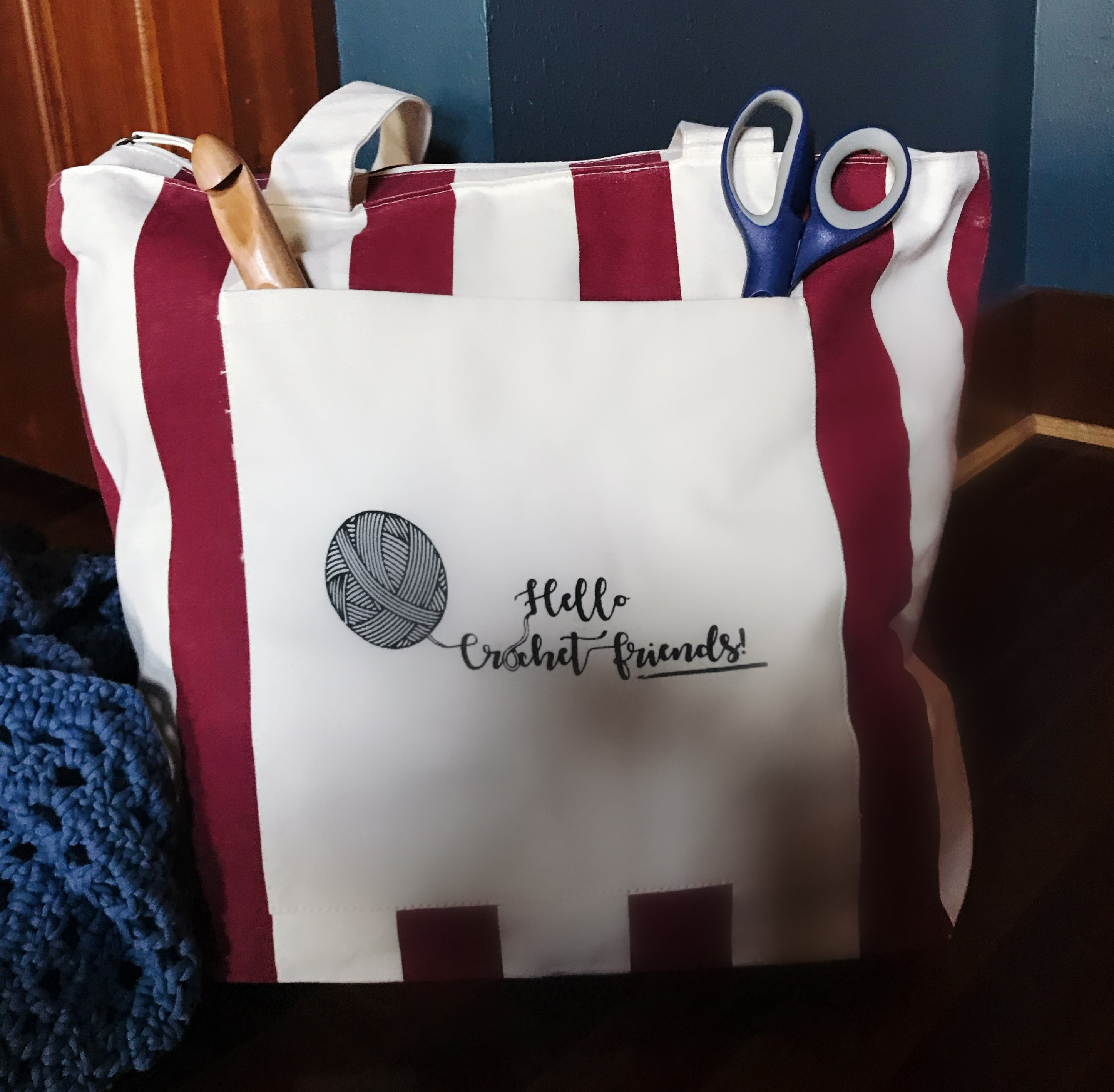 """Hello Crochet Friends"" Zippered Canvas Chandler Tote (2 color options)"