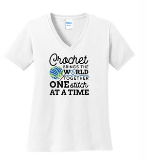 Crochet Brings The World Together V-Neck Tee