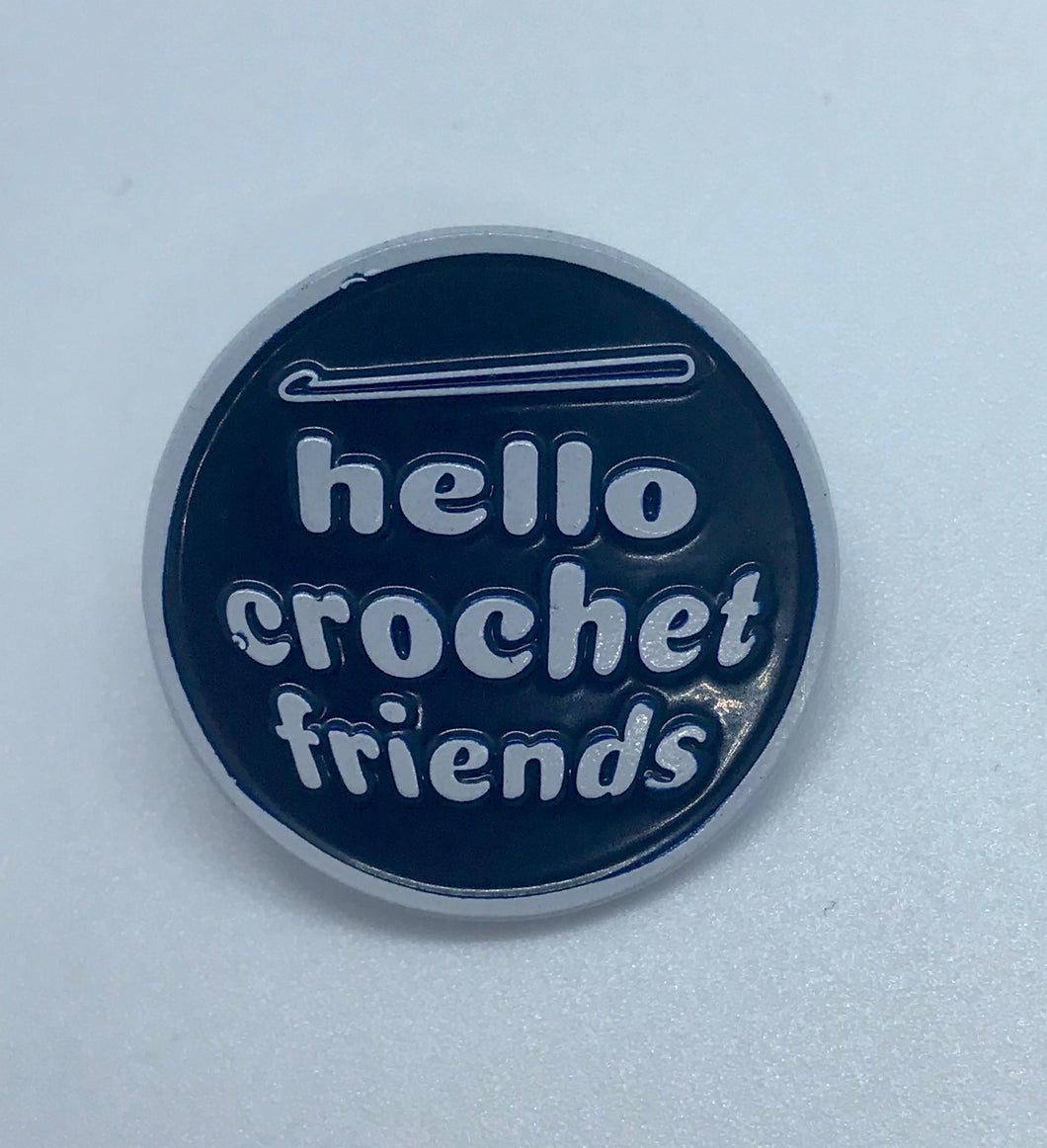 """Hello Crochet Friends"" Collectible Pin"