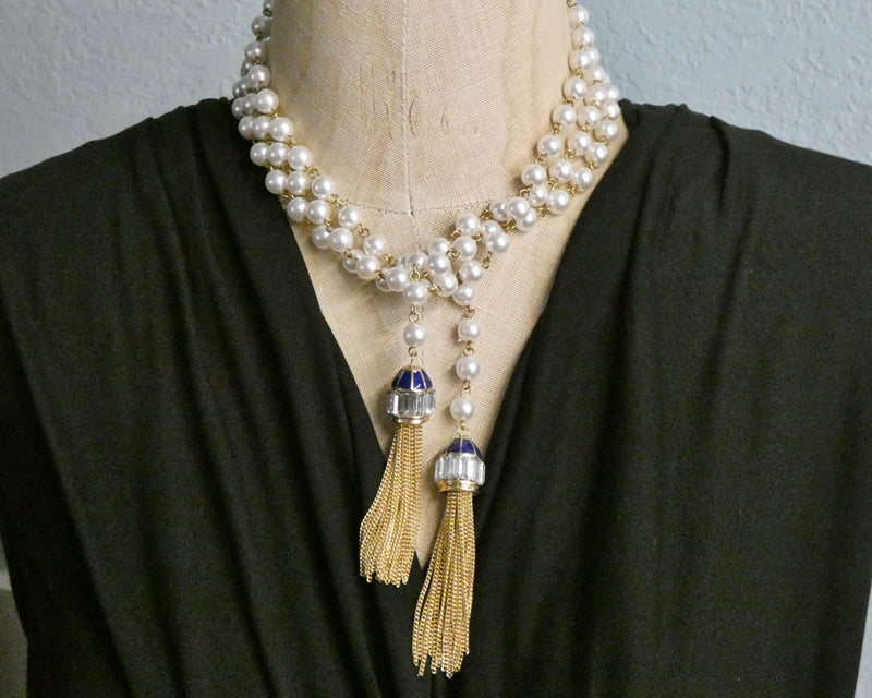 Lariat Pearl and Gold Tassel Necklace, Dark Blue Enamel and Crystal Tassel