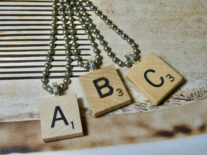 Scrabble Necklace, Letter Necklace from repurposed Scrabble Tile