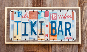 Tiki Bar License Plate Sign repurposed from license plates