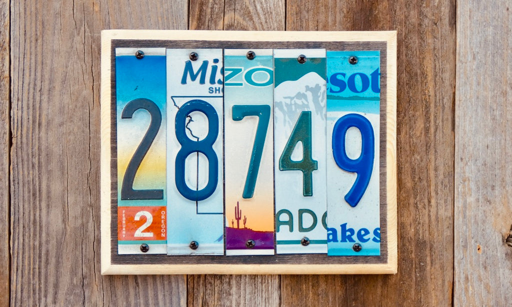 House Number Signs with your personalized address made with License Plates