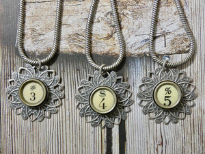 Typewriter Key Necklace • Number Typewriter Keys in Ivory