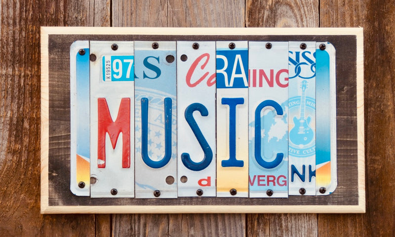 Music License Plate Sign