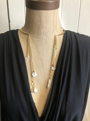 Gold Wire Choker with Fringe Necklace, Pearl Collar Necklace