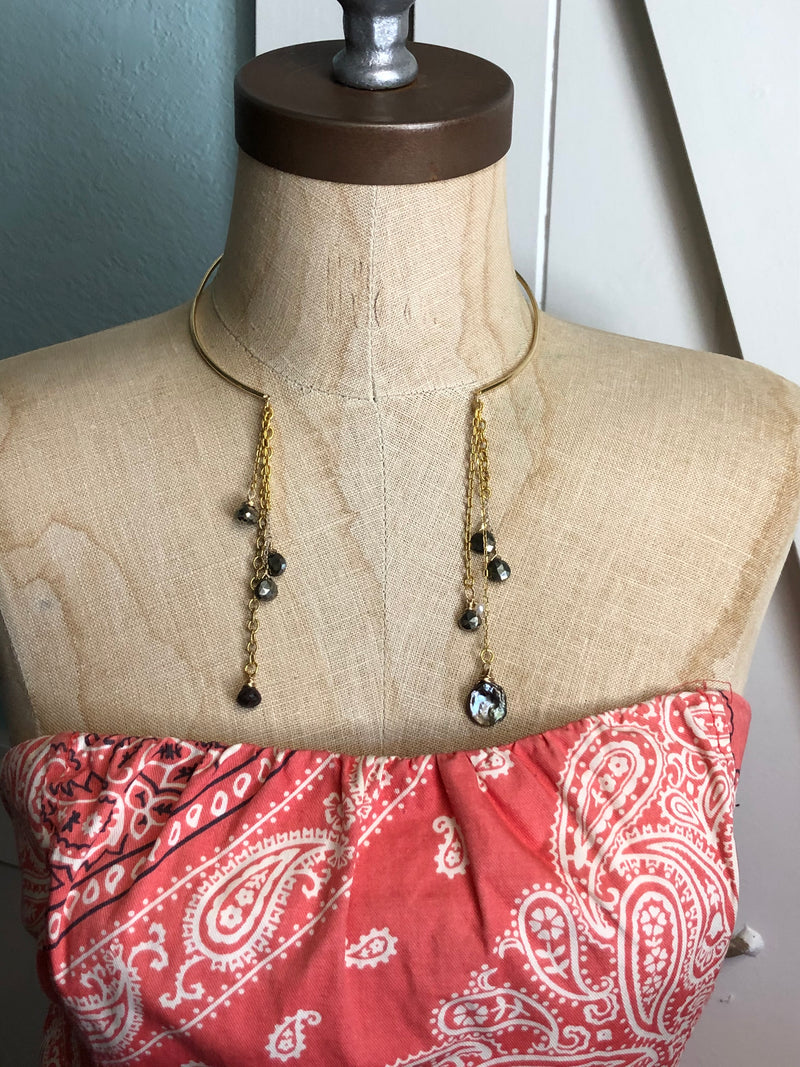 Gold Wire Choker with Fringe Necklace, Collar Necklace