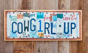 Cowboy Up License Plate Sign