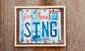 Sing License Plate Sign